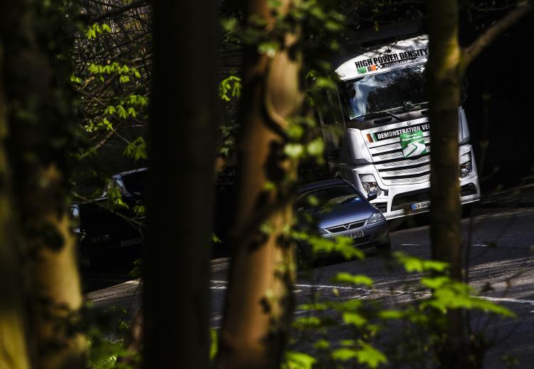 Der Vorführ-Lkw von Jacobs Vehicle mit hoher Leistungsdichte