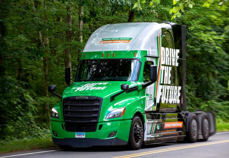 Jacobs' Drive the Future truck on the road