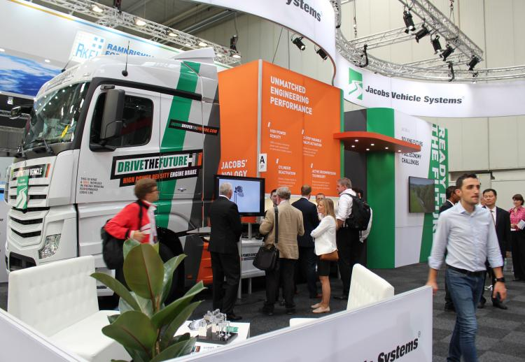 Jacobs Vehicle Systems IAA Trade Show Booth Featuring Jacobs' HPD Demo Truck.
